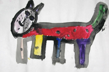 kids painting of a cat